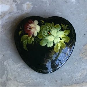 Russian Lacquered Wood Brooch